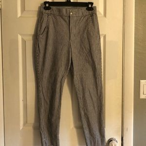 Hollister Gray and White Pinstripe Ankle Pants